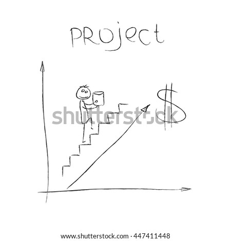Concepts business financial strategy, analysis, planning, consulting, management, development and investments. Successful business project. Drawing cartoon vector illustration. Sketch man on stairs