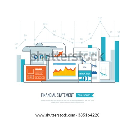 Concepts for business analysis, financial statement, consulting, teamwork, project management. Training courses for investment. Investment growth. Financial strategy and report. Online education. - stock vector