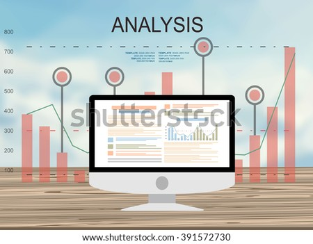 Concepts for business planning and accounting, analysis, audit, project management, marketing, research in flat design style. Laptop on wooden table showing charts and graph, Business Analysis   - stock vector