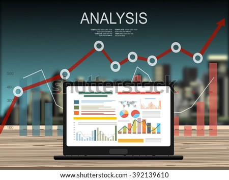 Concepts for business planning and accounting, analysis, audit, project management, marketing, research in flat design style. Laptop on wooden table showing charts and graph, Business Analysis
