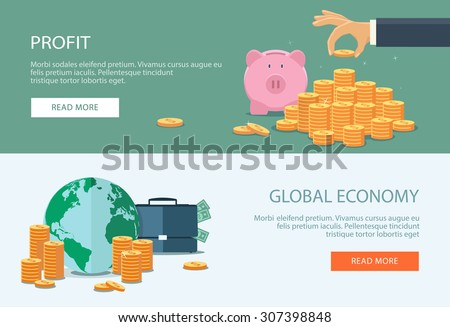 Concepts for finance, stock market and business, investing, making money, profit, piggy bank. Can be used for infographics, web design, diagram, banners, promotional materials, etc. - stock vector