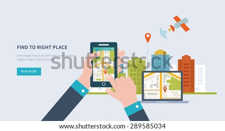 Concepts for finding the right place and people on the map for travel and tourism. Mobile gps navigation on laptop and mobile phone with map. Mobile technologies concept. Building icon. - stock vector