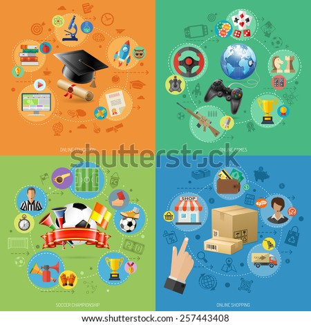 Concepts for Online Internet Technology - Education, Shopping and Games with 3D and Flat Icons. Can be used for web banners and printing advertising. Vector Illustration. - stock vector