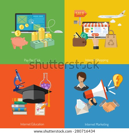 Concepts for Online Internet Technology - Education, Shopping, Marketing and Pay per Click Flat Icons. Can be used for web banners and printing advertising. Vector Illustration. - stock vector