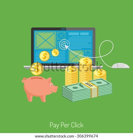 Concepts for Online Internet Technology - Pay per Click Flat Icons. Can be used for web banners and printing advertising. Vector Illustration. - stock vector