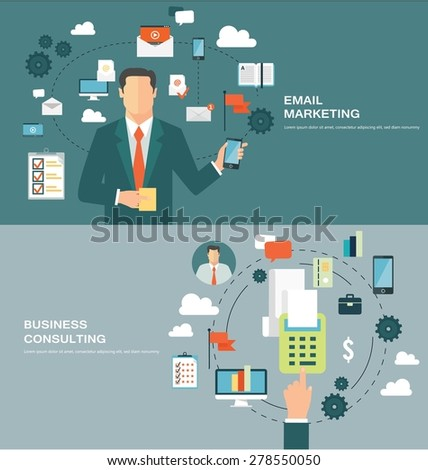 Concepts for web banners and promotions. Flat design concepts for email marketing and business consulting - stock vector