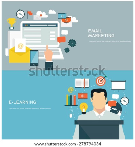 Concepts for web banners and promotions. Flat design concepts for email marketing and e-learning - stock vector