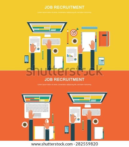 Concepts for web banners and promotions. Flat design concepts for job recruitment - stock vector
