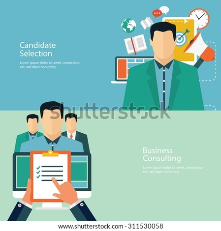 Concepts for web banners and promotions. Flat design concepts for promotion and candidate evaluation - stock vector