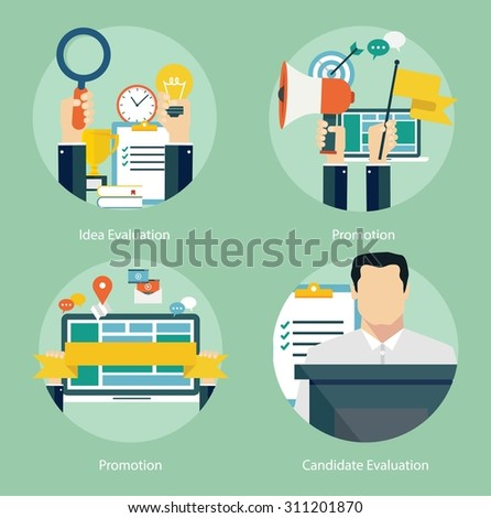 Concepts for web banners and promotions. Flat design concepts for promotion, candidate and idea evaluation - stock vector