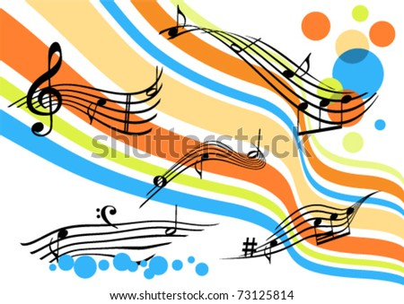 Conceptual abstract background with curvy colored stripes and stave - stock vector