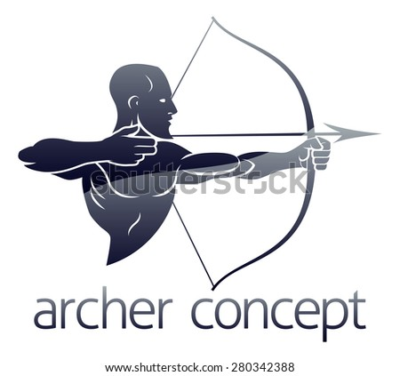 Conceptual archery sports illustration of an archer shooting a bow and arrow