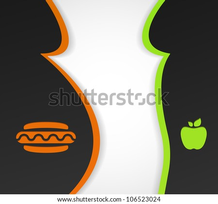 Conceptual background on the theme of obesity and healthy eating. Eps 10 - stock vector