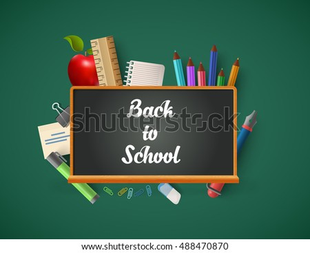 Conceptual blackboard chalk lettering with education icons vector illustration. Back to school infographics concept. Pencils, ruler, notebook apple and pen objects.