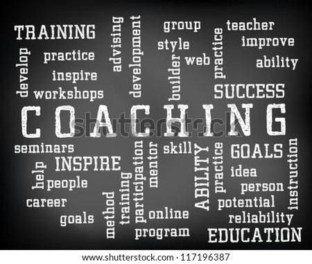 Conceptual coaching word cloud written on black chalkboard and white chalk. Presentation template. Vector Illustration.