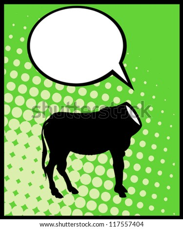 Conceptual comic style caricature of a headless donkey silhouette and speech bubble - stock vector