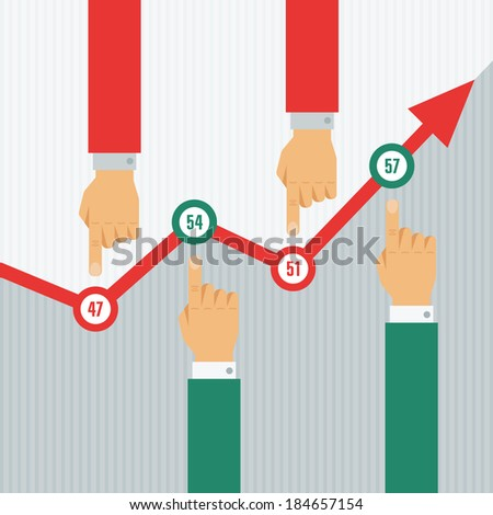 Conceptual creative Illustration with Business S?hedule and Hunan Hands for presentation and different designed works. - stock vector