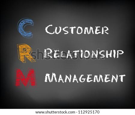 Conceptual CRM acronym concept on black chalkboard. Customer Relationship Management slide concept. Vector Illustration. - stock vector