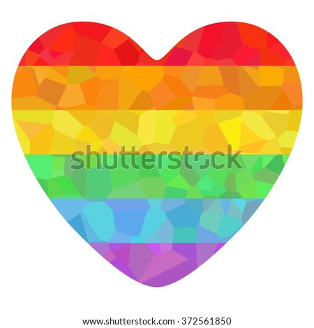 Conceptual decorative poster with LGBT support symbol. Colorful rainbow polygonal heart isolated on white background. Typography design element for posters, banners and prints devoted on LGBT theme. - stock vector
