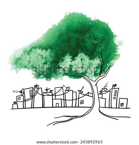 Conceptual drawing. Preservation of greenery in big cities. Green watercolor tree against the industrial city.