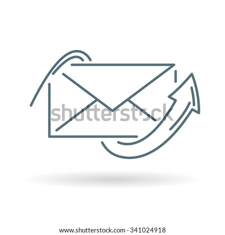 Conceptual email arrow icon. Concept mail send sign. Outbox post symbol. Thin line icon on white background. Vector illustration. - stock vector