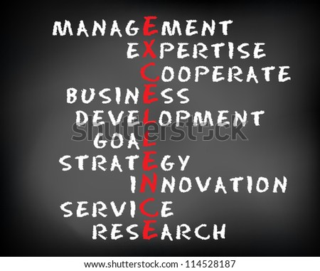 Conceptual EXCELLENCE acronym written on black chalkboard blackboard. Management, expert, development, strategy, research, service, goal. Vector Illustration.