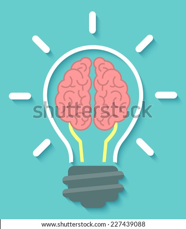 Conceptual flat icon of brain and idea in the form of light bulb with soft shadow on a blue background - stock vector