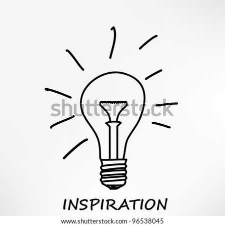 Conceptual hand drawn representation of an idea or inspiration with incandescent lightbulb. Vector Illustration.