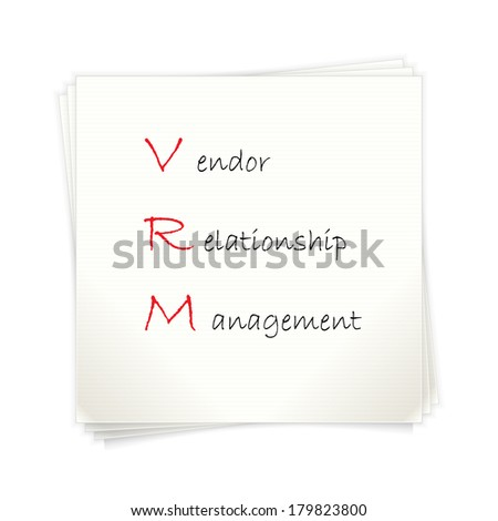 Conceptual hand drawn VRM acronym written on piece of paper. Vendor relationship management. - stock vector