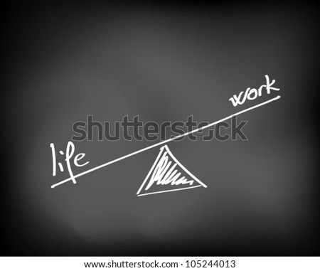 Conceptual handwritten white text chalk on black chalkboard. Life and work balance. Vector Illustration.