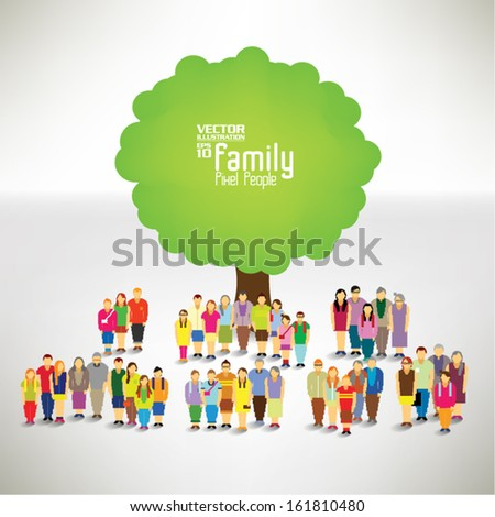 Conceptual happy family tree vector design - stock vector