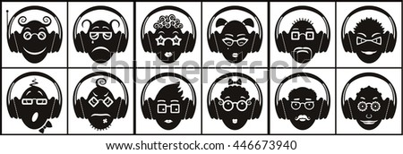 Conceptual icon set of funny emoticons with headphones; vector print illustration of heads listening to different music and making grimaces.