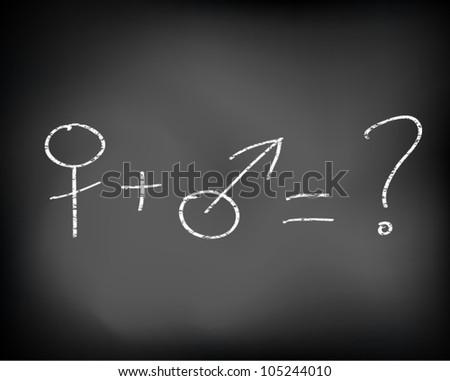 Conceptual idea man and woman drawn on black chalkboard . Vector Illustration.