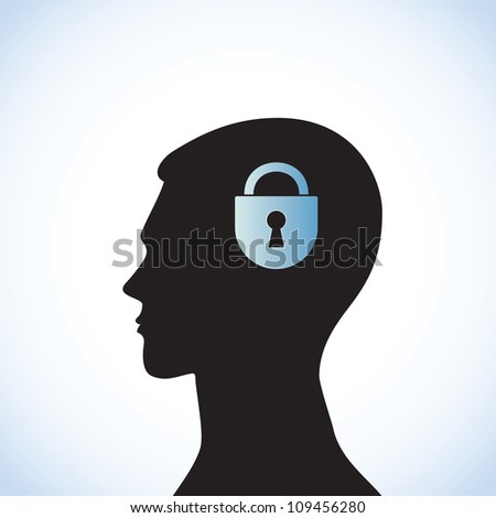 Conceptual idea: silhouette image of  head with a lock.