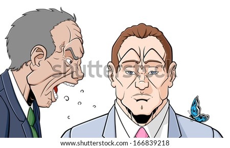 Conceptual illustration about self control. An angry man is shouting at an other man who is stand him without responding. The butterfly on his shoulder represents the quiet. White background. - stock vector