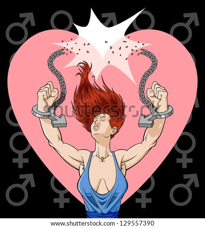 Conceptual illustration against the violence on women. It describes a woman breaking the chains of a violent man's oppression: the handcuffs are represented with the male symbol.