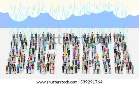 conceptual illustration in flat design style for big data theme; large group of people connected to the cloud