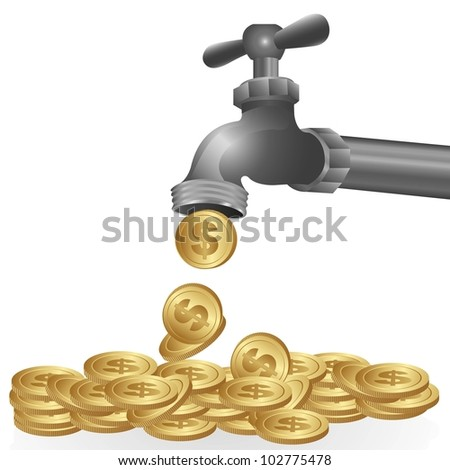 conceptual illustration of a dripping tap coins, vector illustration - stock vector