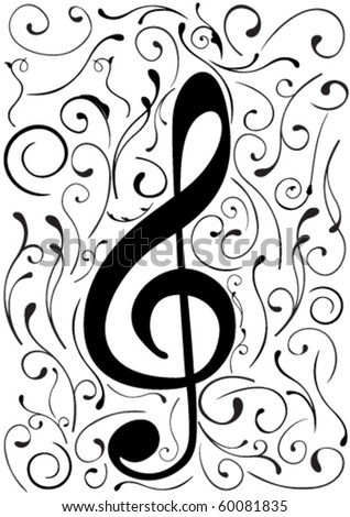 Conceptual illustration of a G clef - stock vector