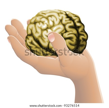 Conceptual illustration of a hand holding a brain
