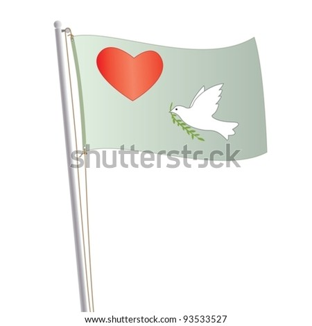 Conceptual illustration of a light green colored flag, waving  with heart and white dove peace symbol on it. You can use this image on a peace and love concept design. - stock vector
