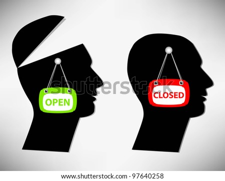 Conceptual Illustration of a man. A person with an open head covered their heads - stock vector