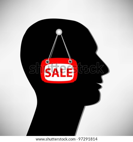 Conceptual Illustration of a man. Brains for sale. - stock vector