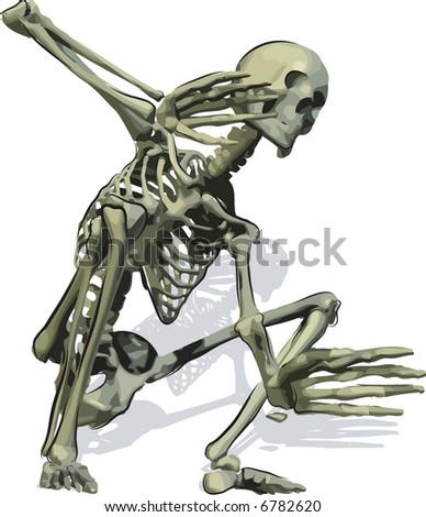 Conceptual illustration of a scared skeleton, file has no gradients.