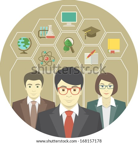 Conceptual illustration of a teaching staff with icons of school subjects - stock vector