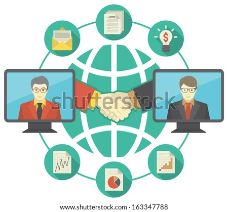 Conceptual illustration of business cooperation using the new information-sharing technologies. It can present the idea of collaboration, exchange of ideas, information and international partnership - stock vector