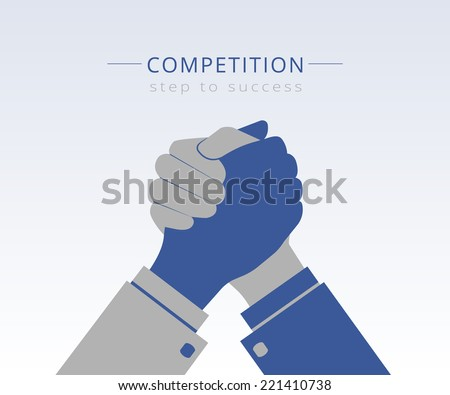 Conceptual Illustration of competition between two business men together. Vector hand shake icon for unity relationship and being together partnership. Business handshake concept with hand wrestling - stock vector