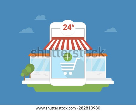 Conceptual illustration of e-commerce mobile application for smartphone - stock vector
