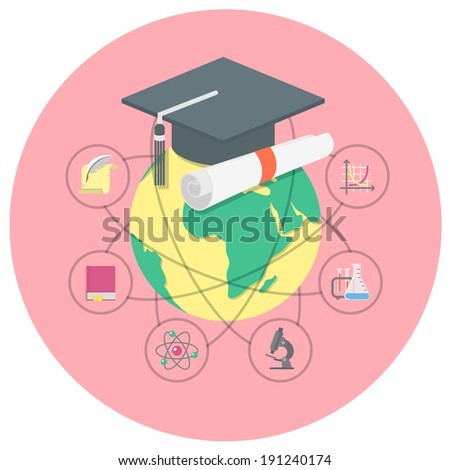 Conceptual illustration of international academic education with a globe, graduation cap and the symbols of various sciences - stock vector