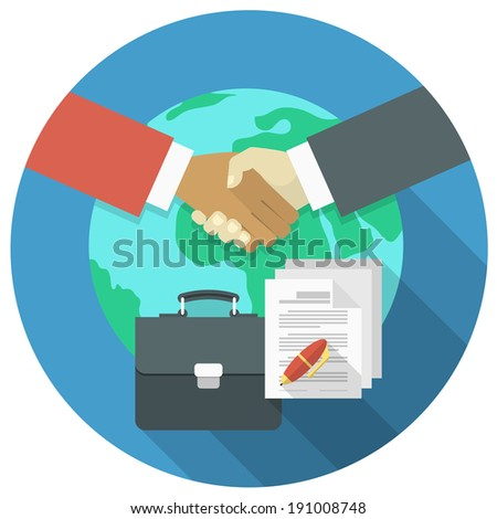 Conceptual illustration of international business cooperation and partnership - stock vector